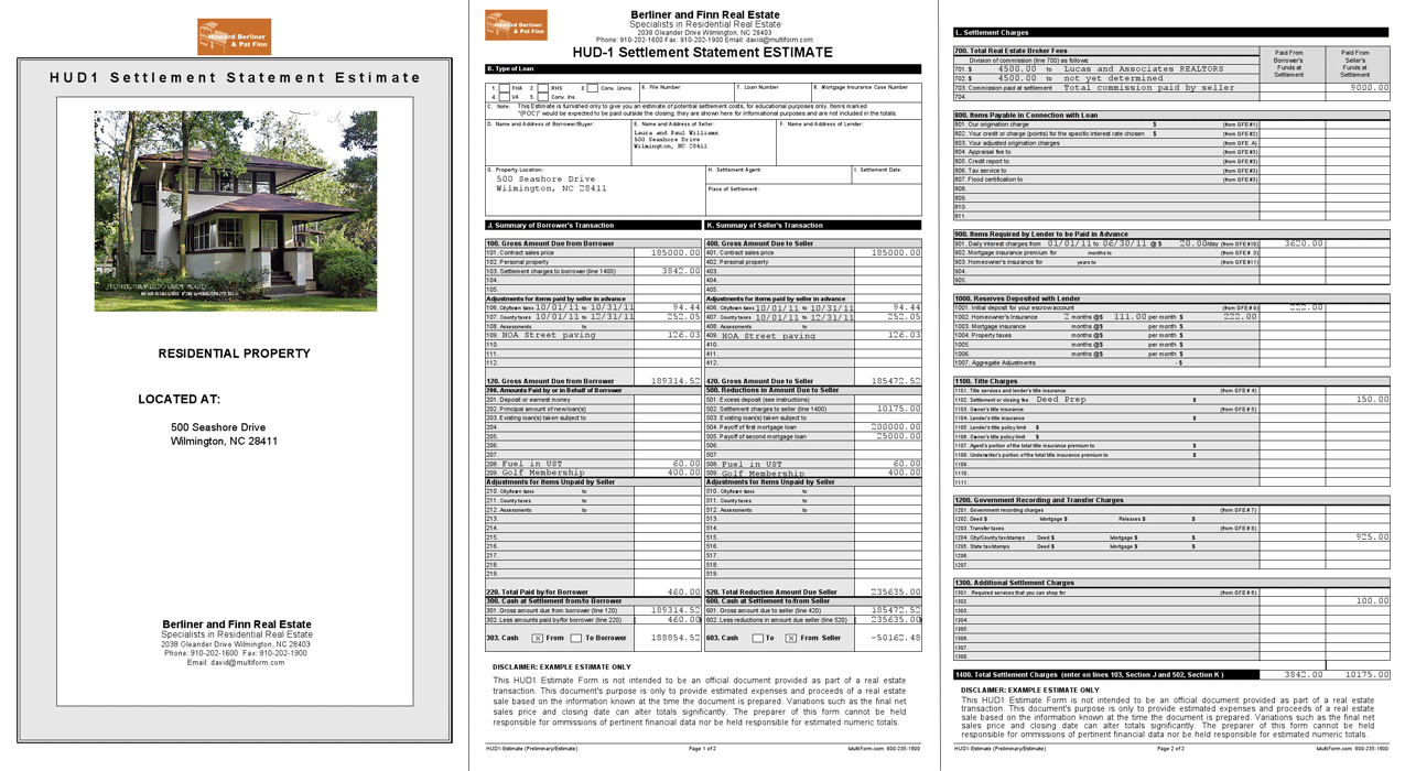 short forms software hud1 settlement pre estimate worksheet