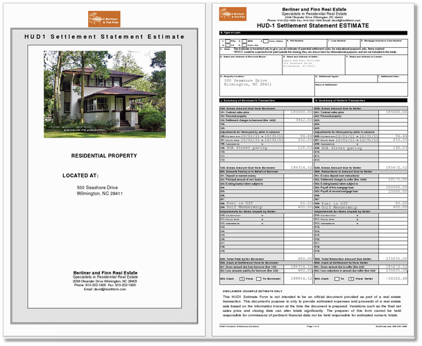 HUD1 Cover Page and Page 1